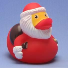 Paperella di gomma Babbo Natale con il sacchetto e campana - Bild vergrößern