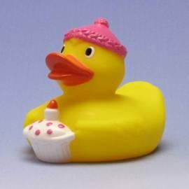 Paperella di gomma Buon compleanno rosa - Bild vergrößern