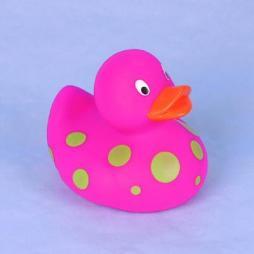 Paperella di gomma rosa con puntini verdi